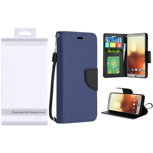 Insten Folio Leather Fabric Cover Case Lanyard w/stand/card slot/Photo Display For LG G6, Blue