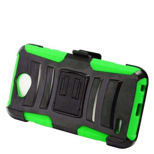 Insten Advanced Armor Hard Hybrid Silicone Case w/stand/Holster For LG X Power 2, Black/Green