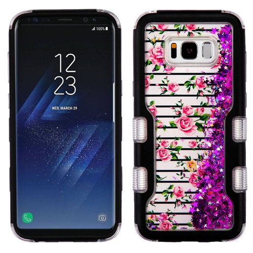 Insten Quicksand Glitter Roses Hard Dual Layer Plastic TPU Case For Samsung Galaxy S8, Colorful