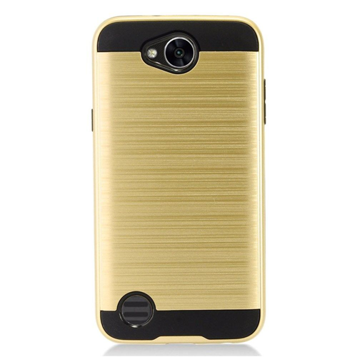 Insten Chrome Dual Layer Brushed Hard Case For LG X Power 2, Gold/Black
