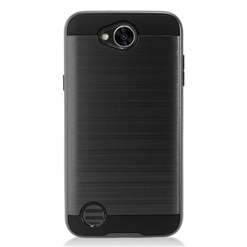 Insten Chrome Hybrid Brushed Hard Cover Case For LG X Power 2, Black