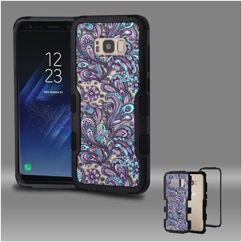 Insten European Flowers Hard Hybrid Plastic TPU Cover Case For Samsung Galaxy S8, Purple/Black