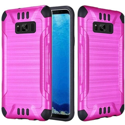 Insten Slim Armor Hard Hybrid Brushed TPU Cover Case For Samsung Galaxy S8, Hot Pink/Black