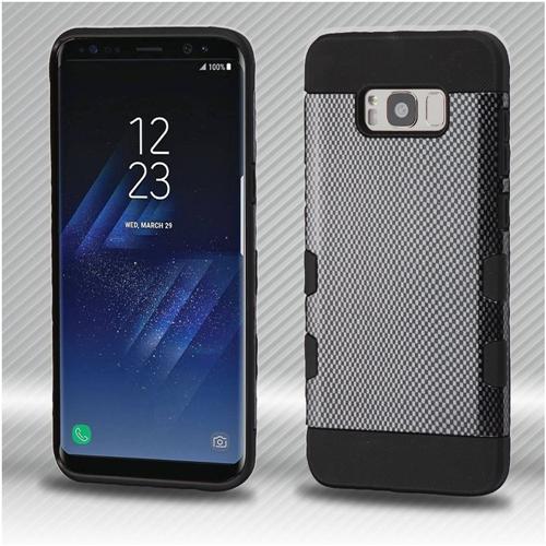 Insten Carbon Fiber Hard Dual Layer Plastic TPU Case For Samsung Galaxy S8, Black