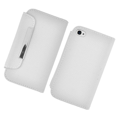 Insten Flip Leather Fabric Case w/card slot For Apple iPhone 4/4S, White