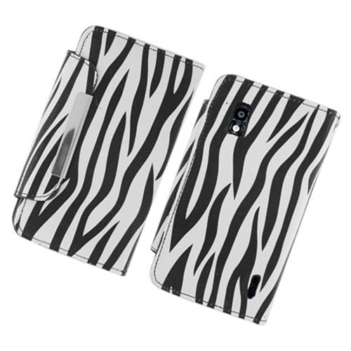 Insten Zebra Folio Leather Fabric Case w/card slot For LG Google Nexus 4 E960, Black/White