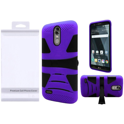 Insten Hard Hybrid Plastic Silicone Case w/stand For LG Stylo 3/Stylo 3 Plus, Black/Purple