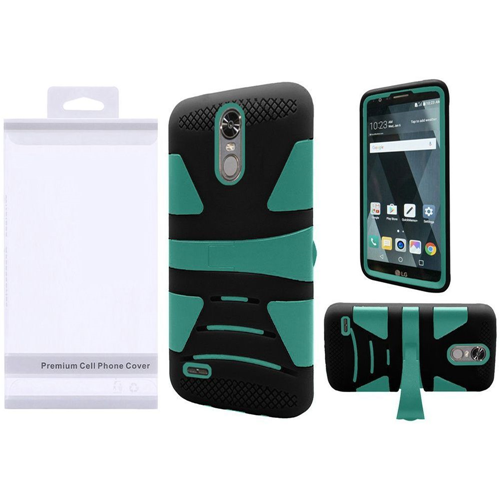 Insten Hard Hybrid Plastic Silicone Cover Case w/stand For LG Stylo 3/Stylo 3 Plus, Teal/Black