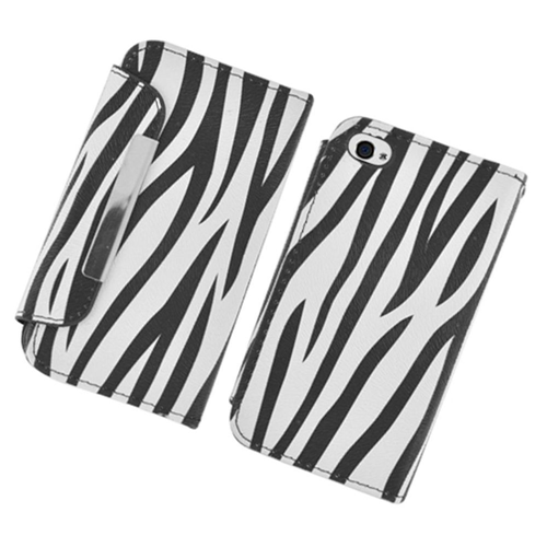 Insten Zebra Book-Style Leather Fabric Case w/card slot For Apple iPhone 4/4S, Black/White