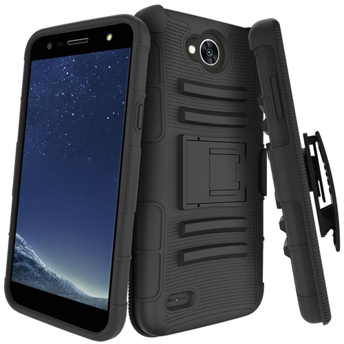 Insten Hard Dual Layer Plastic TPU Cover Case w/stand/Holster For LG X Power 2, Black