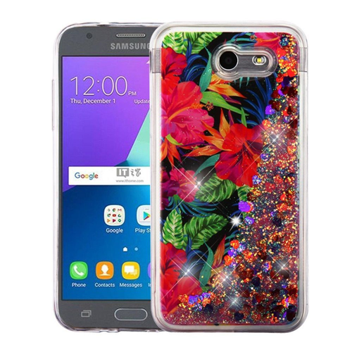 Insten Quicksand Glitter Hibiscus Hard Case For Samsung Galaxy J3 (2017)/J3 Emerge, Multi-Color