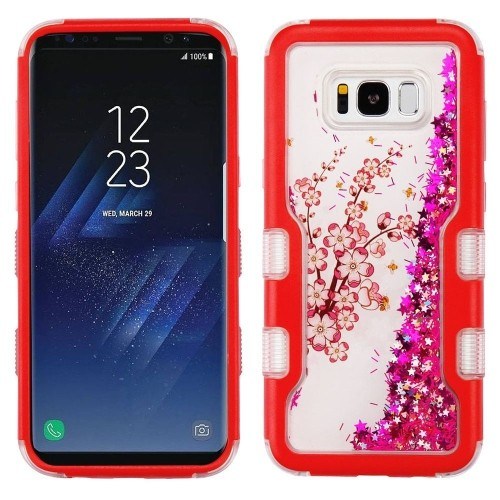 Insten Quicksand Glitter Spring Flower Hard Hybrid TPU Case For Samsung Galaxy S8 Plus, Red/Hot Pink