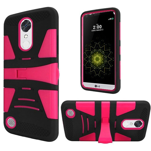 Insten Hard Plastic TPU Case w/stand For LG Grace 4G/Harmony/K20 Plus/K20 V, Hot Pink/Black
