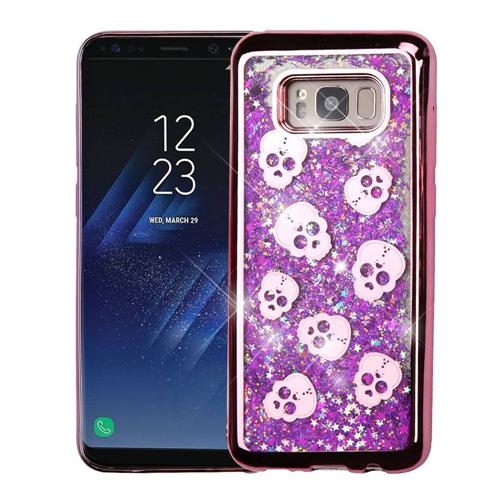 Insten Quicksand Glitter Skull Hard Dual Layer Plastic Case For Samsung Galaxy S8, Purple/Rose Gold