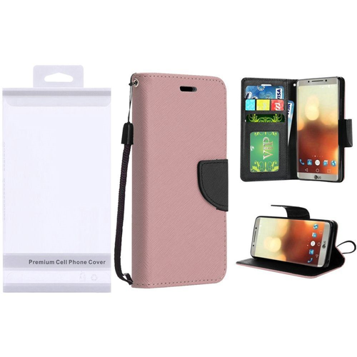Insten Flip Leather Fabric Case Lanyard w/stand/card slot/Photo Display For LG G6, Rose Gold
