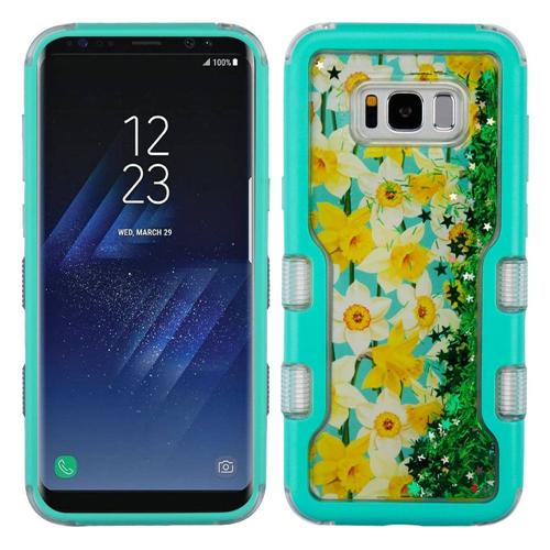Insten Quicksand Glitter Spring Daffodil Hard Hybrid TPU Case For Samsung Galaxy S8 Plus, Green/Teal