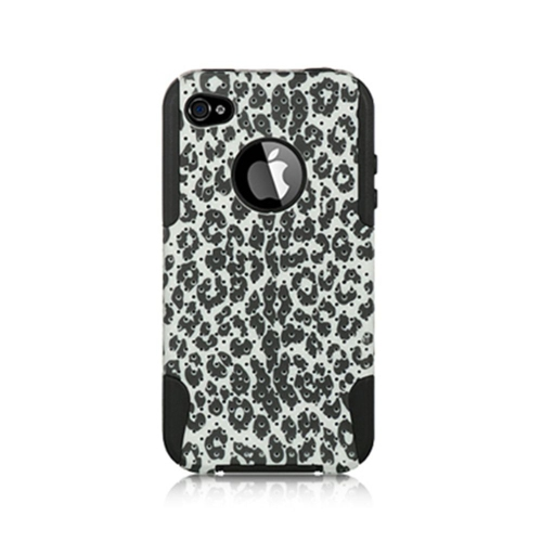 Insten Leopard Hard Hybrid Plastic TPU Cover Case For Apple iPhone 4/4S, Black/White