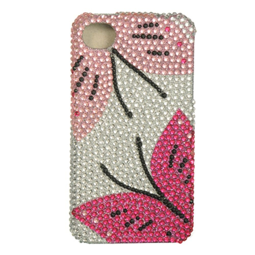 Insten Hard Diamante Cover Case For Apple iPhone 4/4S, Silver/Pink