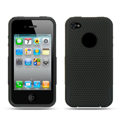 Insten Mesh Hard Hybrid Rubber Coated Silicone Case For Apple iPhone 4, Black