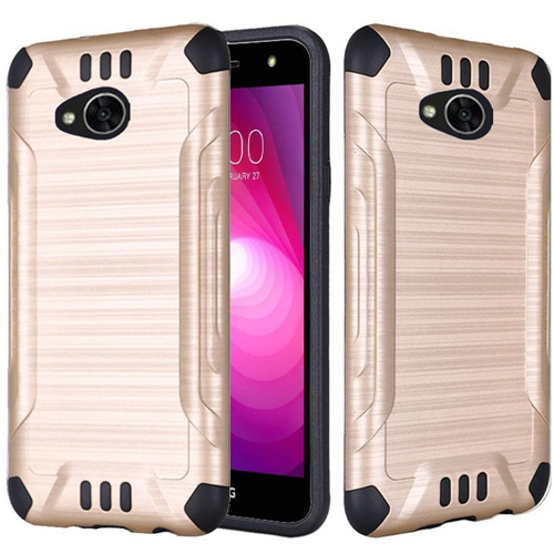 Insten Slim Armor Hybrid Brushed TPU Case For LG Fiesta LTE/K10 Power/X Charge/X Power 2, Gold/Black