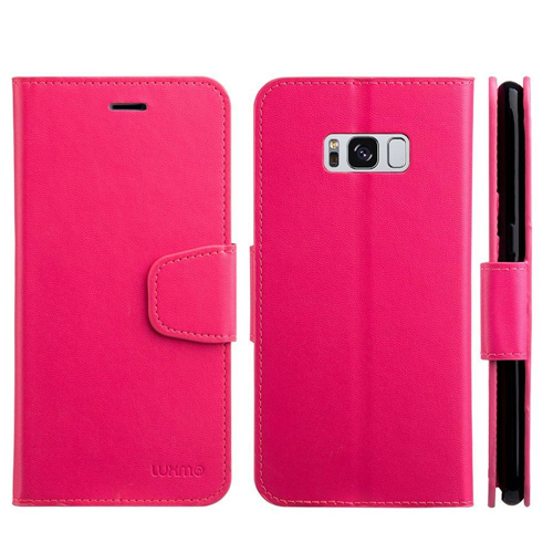 Insten Urban Classic Folio Leather Fabric Case w/stand For Samsung Galaxy S8 Plus, Hot Pink