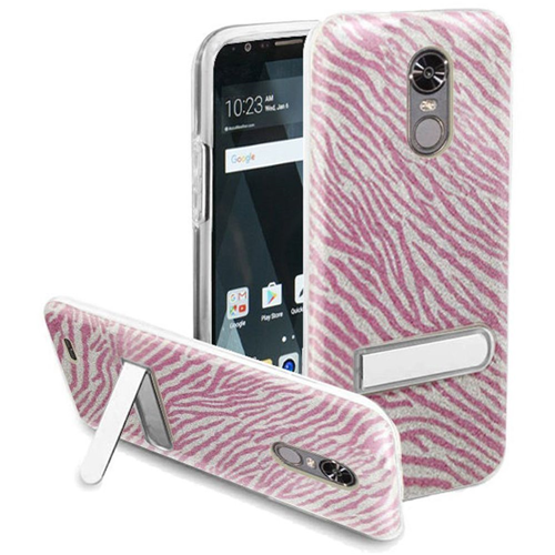 Insten Zebra Hard Plastic TPU Cover Case w/stand For LG Stylo 3/Stylo 3 Plus, Hot Pink