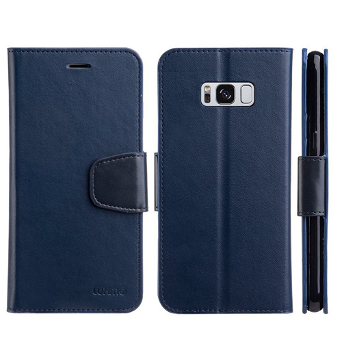 Insten Urban Classic Folio Leather Fabric Case w/stand/card holder For Samsung Galaxy S8 Plus, Navy