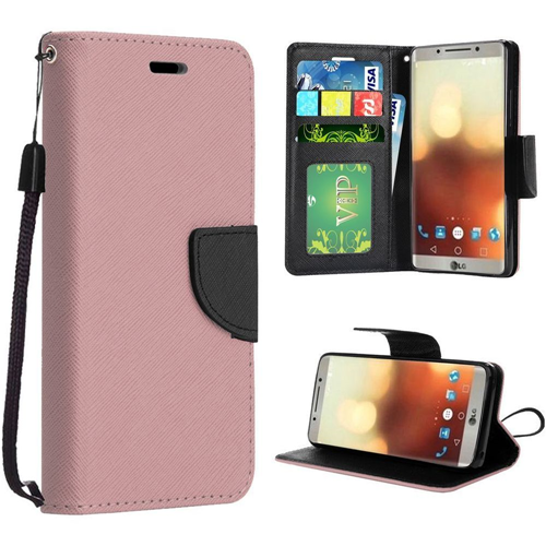 Insten Folio Leather Fabric Case Lanyard w/stand/card slot/Photo Display For LG G6, Rose Gold