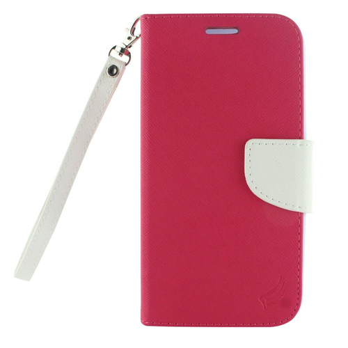 Insten Book-Style Leather Fabric Case Lanyard w/stand/card holder For LG X Venture, Pink/White