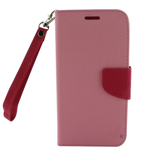Insten Book-Style Leather Fabric Case Lanyard w/stand/card holder For LG X Venture, Pink/Hot Pink