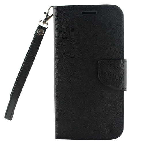 Insten Book-Style Leather Fabric Case Lanyard w/stand/card holder For LG X Venture, Black