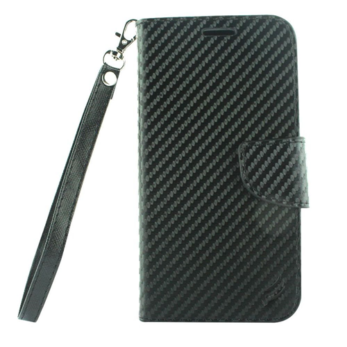 Insten Flip Leather Fabric Case Lanyard w/stand/card holder/Photo Display For LG X Venture, Black