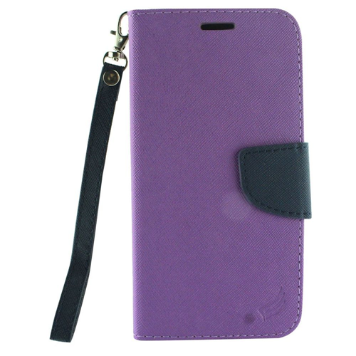 Insten Book-Style Leather Fabric Case Lanyard w/stand/card holder For LG X Venture, Purple/Blue