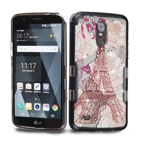 Insten Eiffel Tower Hard Dual Layer Plastic TPU Case For LG Stylo 3/Stylo 3 Plus, Black/Clear