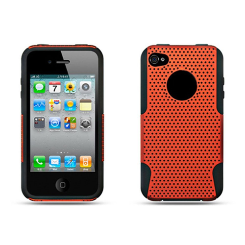 Insten Fitted Soft Shell Case for iPhone 4 - Black;Orange
