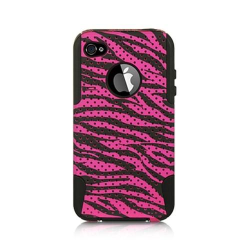 Insten Zebra Hard Hybrid Plastic TPU Cover Case For Apple iPhone 4/4S, Hot Pink/Black