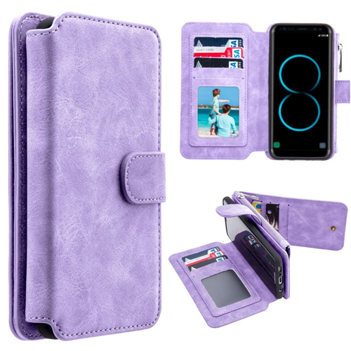 Insten Magnetic Folio Leather Fabric Case w/card holder For Samsung Galaxy S8, Light Purple