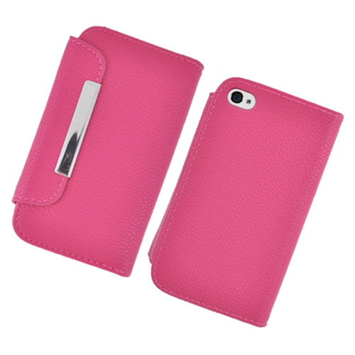 Insten Flip Leather Fabric Cover Case w/card holder For Apple iPhone 4/4S, Hot Pink
