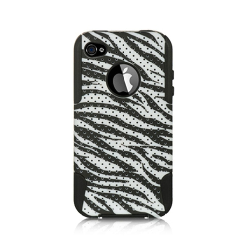 Insten Zebra Hard Hybrid Plastic TPU Cover Case For Apple iPhone 4/4S, Black/White
