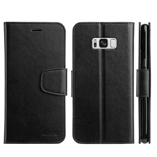 Insten Urban Classic Flip Leather Fabric Case w/stand/card holder For Samsung Galaxy S8, Black
