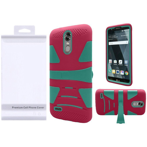 Insten Hard Dual Layer Silicone Cover Case w/stand For LG Stylo 3/Stylo 3 Plus, Teal/Hot Pink