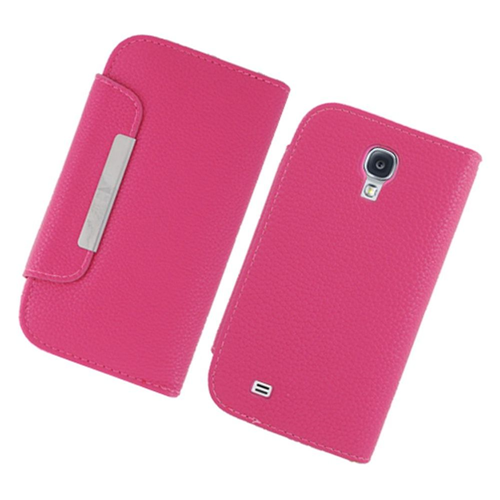 Insten Book-Style Leather Fabric Cover Case w/card slot For Samsung Galaxy S4, Hot Pink
