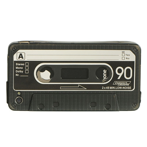 Insten Cassette Tape Rubber Crystal Cover Case For Apple iPhone 4, Black