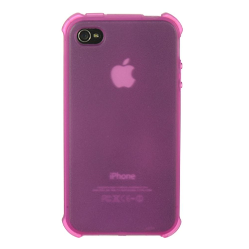 Insten Rubber Clear Crystal Cover Case For Apple iPhone 4, Hot Pink