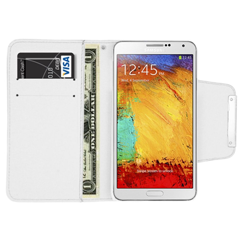 Insten Flip Leather Fabric Case w/card holder For Samsung Galaxy Note 3, White