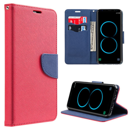 Insten Flip Leather Fabric Cover Case w/stand/card holder For Samsung Galaxy S8, Red/Blue
