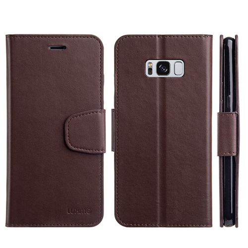 Insten Urban Classic Flip Leather Fabric Cover Case w/stand/card holder For Samsung Galaxy S8, Brown