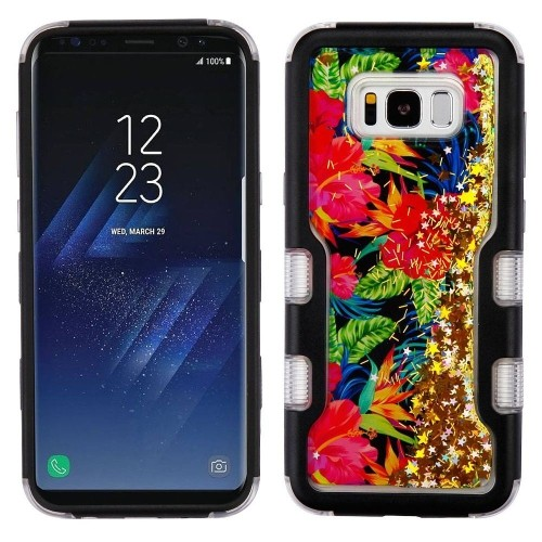 Insten Quicksand Glitter Electric Hibiscus Hard TPU Cover Case For Samsung Galaxy S8 Plus, Colorful