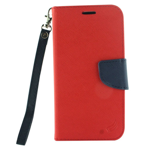 Insten Folio Leather Fabric Case Lanyard w/stand/card holder For LG X Venture, Red/Blue