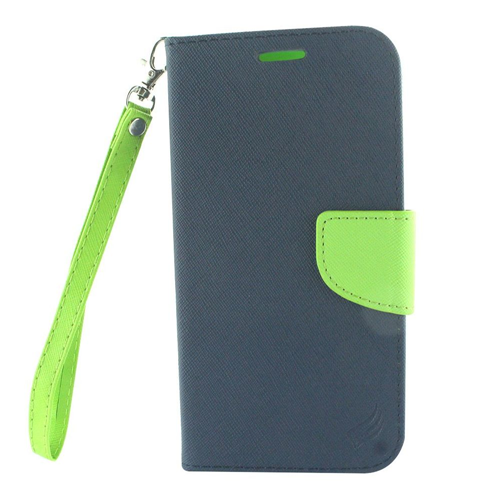 Insten Book-Style Leather Fabric Case Lanyard w/stand/card holder For LG X Venture, Blue/Green